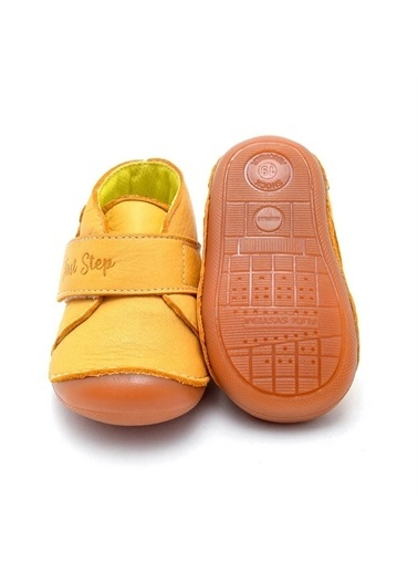 First Step Çiçek Aplikeli Hakiki Deri Ortopedik İlk Adım Ayakkabısı  D-460 Sarı